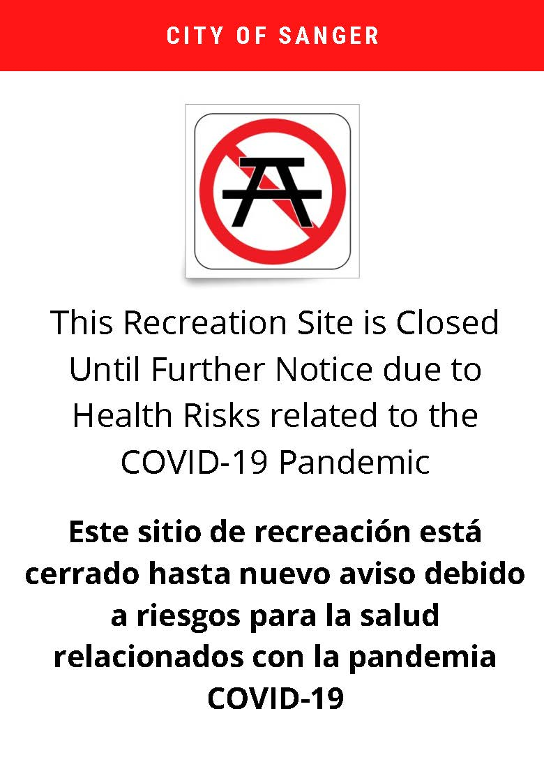 Park Bench closed flyer red, white letter picnic bench crossed out