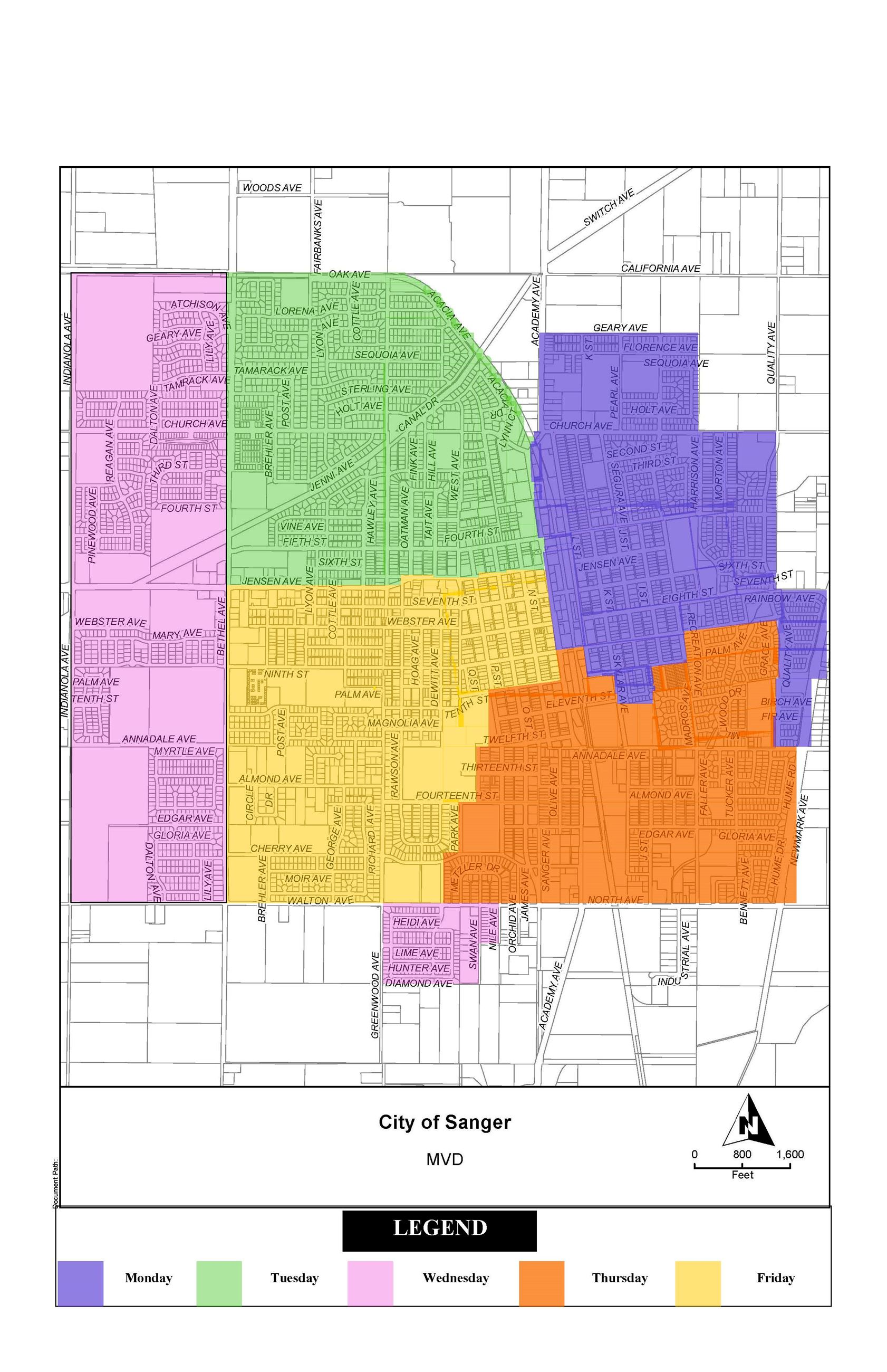 City of Sanger Garbage Collection Schedule Map - 2020